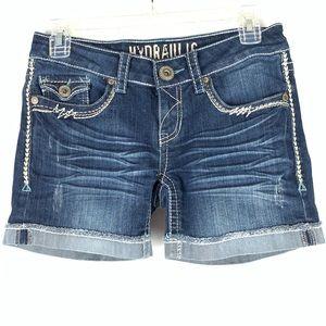 Hydraulic thick stitch roll cuff jean shorts